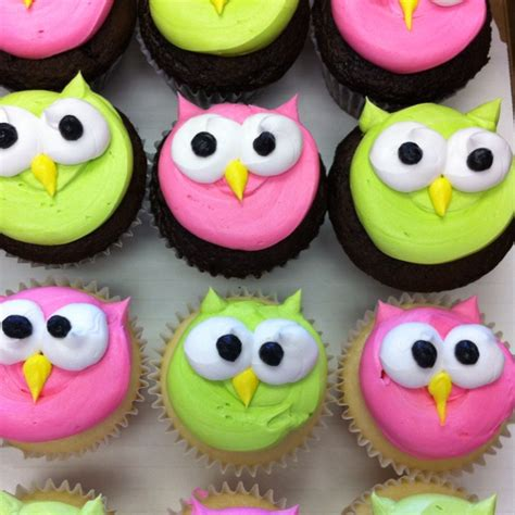 owl cupcakes easy owl cupcakes pink lime green colors   girls birthday party  cute