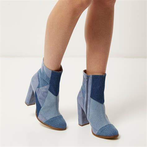 patchwork boots womens lyst river island blue denim patchwork heeled ankle