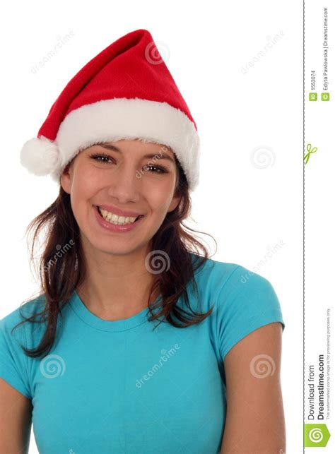 woman wearing a santa hat stock photo image of smile