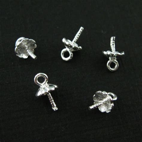 925 Sterling Silver Peg Bail Caps for Half Drilled Pearls and Beads   Fancy Top, Bright Silver