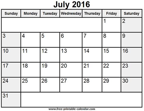 2016 printable calendar template july 2016 calendar