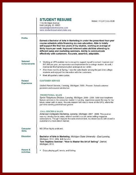 Resume Sles For Science Students free resume sles for college students 100 images
