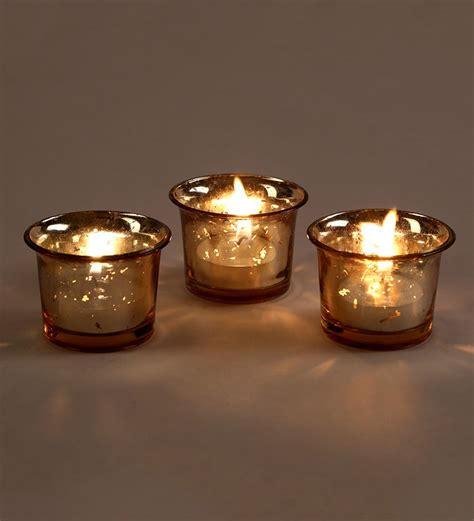 tea light holder set of 3 hosley metallic gold glass candle tealight holder