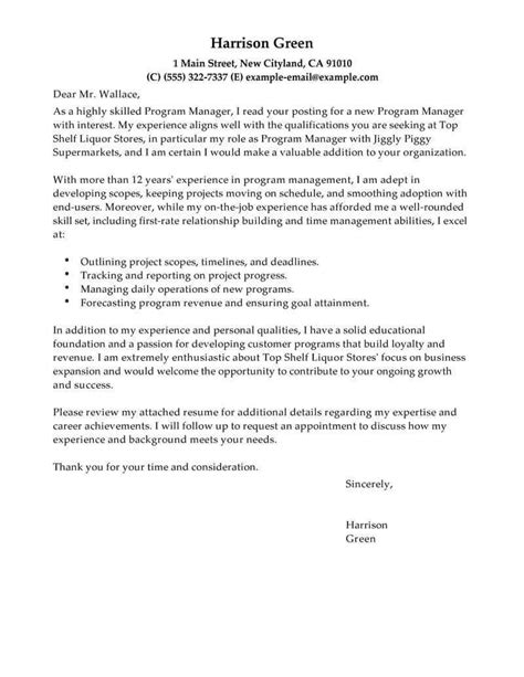 cover letter samle best management cover letter exles livecareer