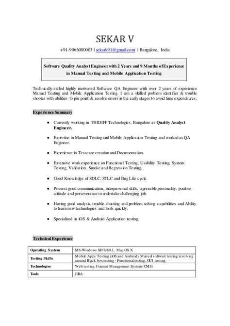 quality assurance analyst resume sle application letter for quality analyst 28 images