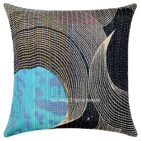 Unique Decorative Pillows Black Unique One Of A Decorative Vintage Kantha