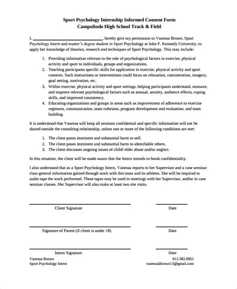 study consent form template sle psychology consent form 7 free documents