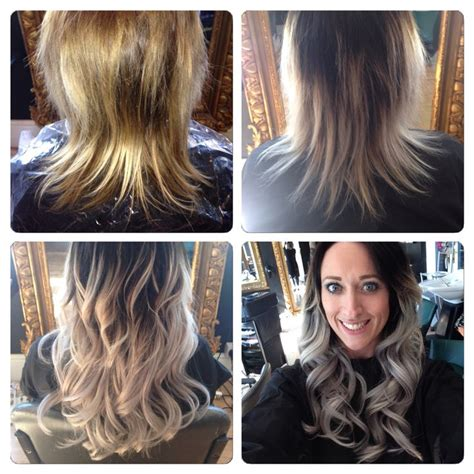 grey hair extensions before and after before during and after silver grey extensions by me