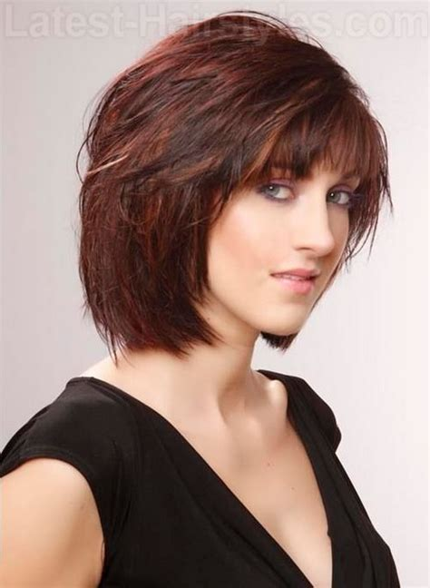 hairstyles for the 50 with fringe chin length layered bob with fringe over 50 short