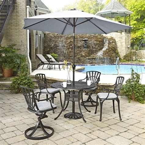 Patio Dining Set With Umbrella 6 Patio Dining Set With Umbrella In Charcoal 5560 30586c