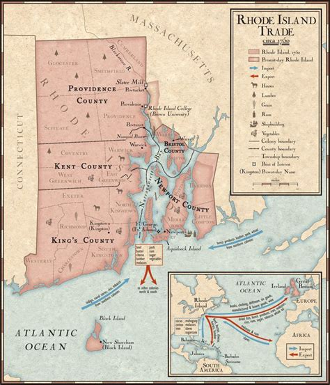 map us during 1700s trade in rhode island during the 1700s national