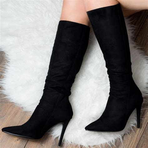 high heeled boots black knee high boots from spylovebuy