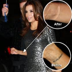 photo eva longoria removes wedding date tattoo radar