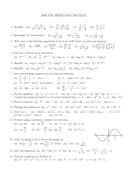 Precalculus Worksheets by All Worksheets 187 Pre Calculus Worksheets Printable