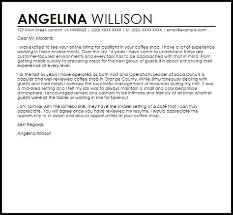 Coffee Shop Cover Letter Sample   LiveCareer