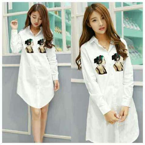 Atasan Wanita Blouse Tunik Putih Pascal Lengan Panjang Jumbo Xl model baju atasan wanita tunik putih lengan panjang terbaru