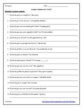 Passe Compose With Avoir Worksheet by Pass 233 Compos 233 With Avoir Worksheet Questions