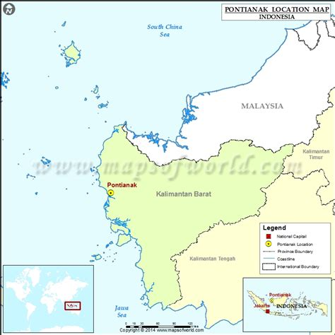 pontianak map where is pontianak location of pontianak in indonesia map