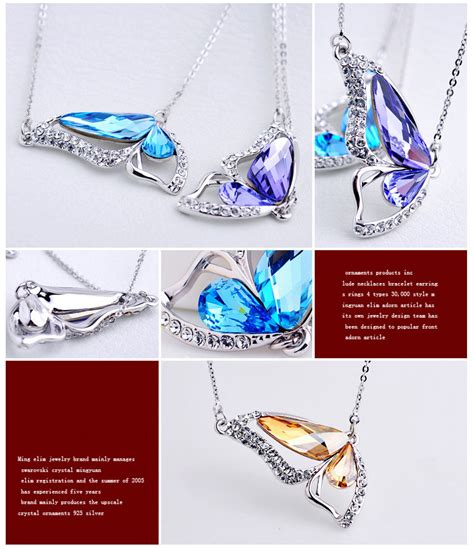 Wings Earrings 925 Sterling Silver Anting Wanita Blue Butterfly Wings Of Necklace Kalung