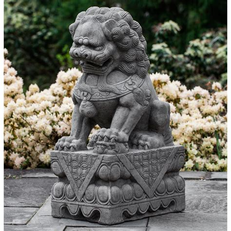 campania international garden foo dog  wave plinth cast