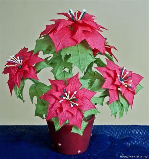 Poinsettia Paper Craft - poinsettia pattern tutorial crepe paper