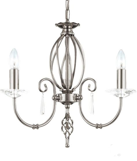 Chandelier In Polished Nickel With Cut Glass Droplets Glass Droplets For Chandeliers