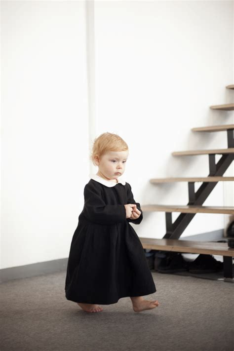 black baby dress baby in fashion black dress with white collar