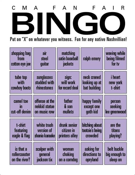 Airbnb Nashville by Fan Fair Bingo When You Re Done Counting Tube Tops