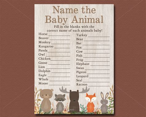Name The Baby Animal Baby Shower by Woodland Baby Shower Name The Baby Animals