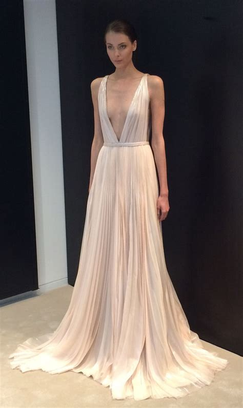 V Neck Wedding Dress by A Stunning Blush Pink V Neck Wedding Dress Spotted