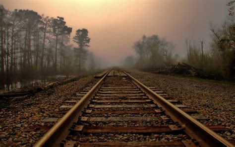 fog  railway wallpaper  desktop wallpaper wallpaperlepi