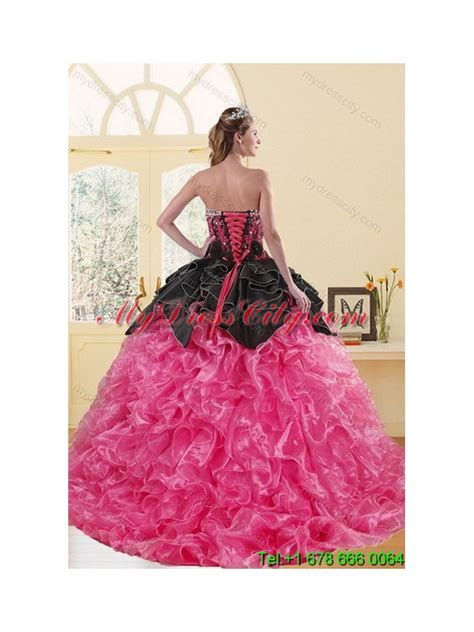 Dress Pink 14418 2015 beading and ruffles sweet 16 dresses in multi