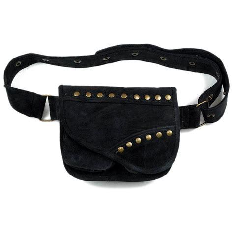 suede leather utility belt bag black pouch bag festival