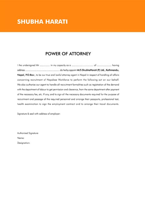 Power Of Attorney Letter Exle Poa Letter Template