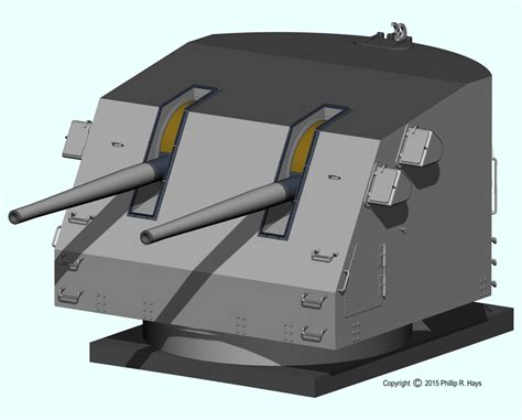 5 inch naval gun turret uss oklahoma city cad model weapons