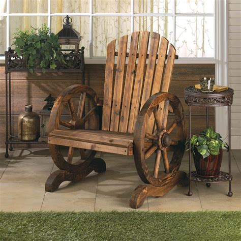 Rustic Wood Wooden Country Wagon Wheel Outdoor Patio Rustic Wood Outdoor Furniture