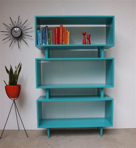 mcm turquoise shelves interior design midcentury