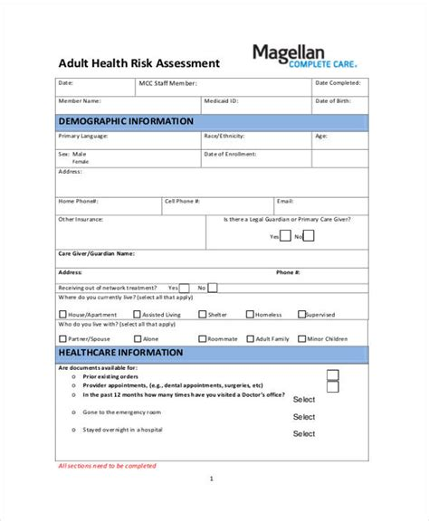 Staff Risk Assessment Template