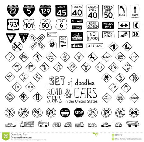 doodle 4 united states 2015 vector set of doodles road signs in the united states and