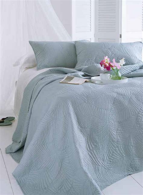 Duck Egg Quilted Bedspread by King Bedspreads From Linen Lace And Patchwork