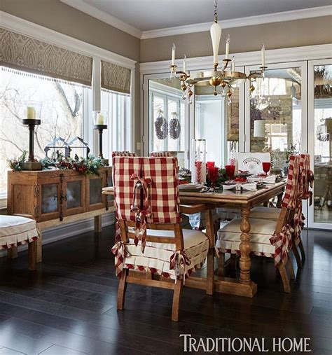 cheerful red plaid  dining chair covers brings