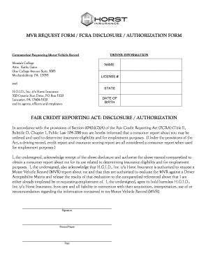 Fcra Background Check Authorization Form Fcra Disclosure And Authorization Form Edit Fill Print