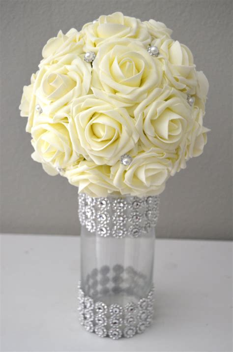Wedding Cylinder Vases Centerpiece Ideas Ivory Real Touch Roses Flower Ball With Bling Pearl Brooch