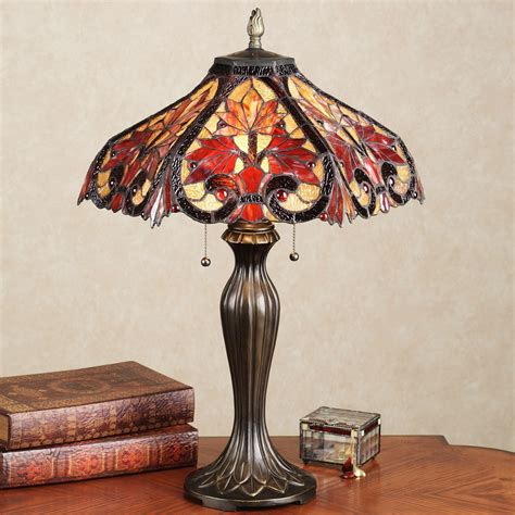 Candle Wall Sconce Set Whispering Foliage Stained Glass Table Lamp