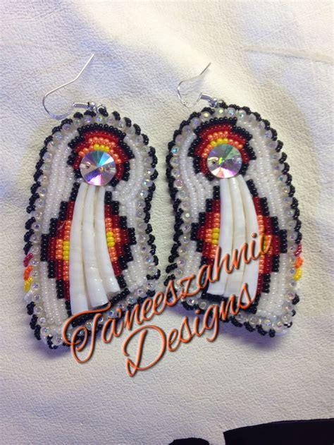 beaded powwow earrings american beaded dentalium earrings pow wow style