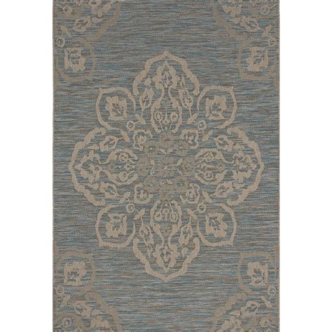 Hton Bay Outdoor Rugs Hton Bay Medallion Turquoise 5 Ft X 7 Ft Indoor Outdoor Area Rug 471850591602251 The Home