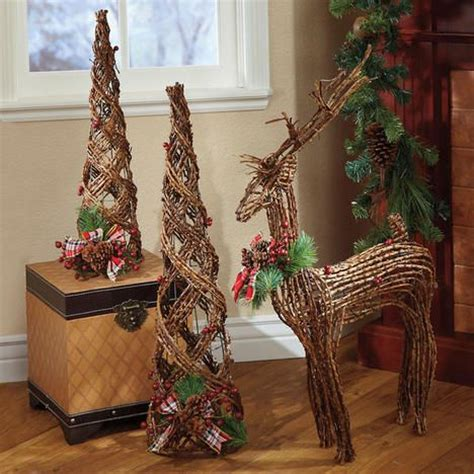 wicker christmas decor woodland rattan trees and reindeer all things trees reindeer and display