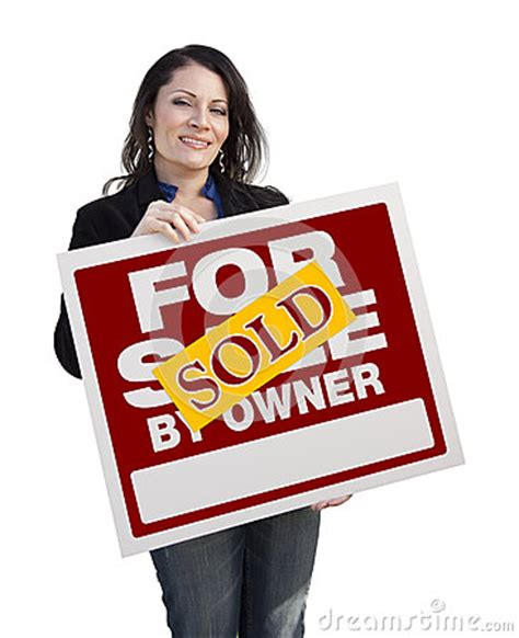 libro sold one womans true hispanic woman holding sold for sale by owner sign stock photo image 50068115