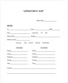 Appointment Card Template by Sle Appointment Slip Template 7 Free Documents