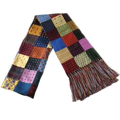 Silk Patchwork - black co uk multicolour patchwork silk scarf with
